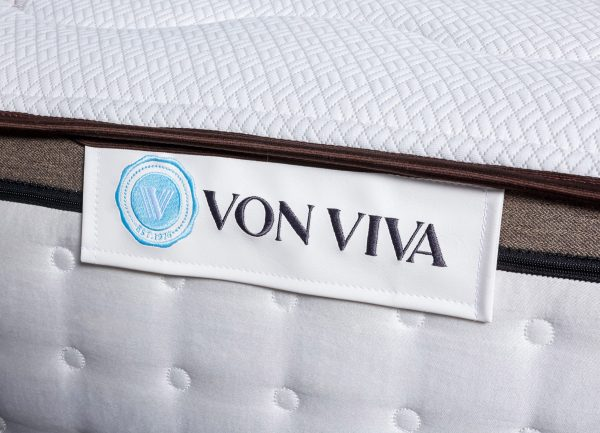 Close-up of Von Viva mattress tag