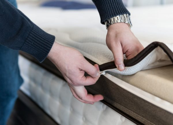 Close-up of a mattress cover being zipped up